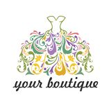Boutique, Bridal, Dress, Floral Vibrant Colorful Logo Template Illustration Vector Whimsical Design. Icon Stock Images
