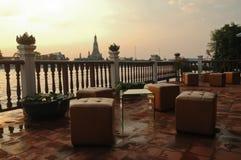 Boutique cafe by riverside of Bangkok Chaopraya ri Stock Photo