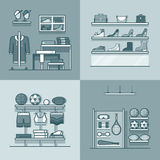 Boutique clothes clothing accessory shoes sports i. Nventory tool shop store interior indoor set. Linear stroke outline flat style vector icons. Monochrome icon Stock Photos
