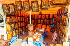 Boutique d'icône de rue dans la ville de Leskovac en Serbie Images libres de droits