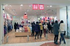 Boutique d'Uniqlo à Hong Kong image stock