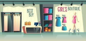 Boutique da menina s do vetor Interior fêmea da loja da roupa ilustração stock