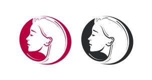 Boutique de beauté, salon, logo de raseur-coiffeur Portrait de belle icône de jeune femme ou de fille Illustration de vecteur illustration stock