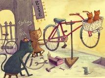 Boutique de bicyclette de chats Photographie stock libre de droits