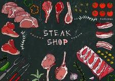 Boutique de bifteck Coupes de viande - boeuf, porc, agneau, bifteck, culotte sans os, rôti de nervures, échine et Rib Chops Tomat Image libre de droits