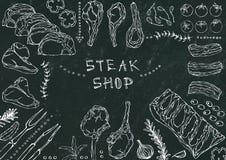 Boutique de bifteck Coupes de viande - boeuf, porc, agneau, bifteck, culotte sans os, rôti de nervures, échine et Rib Chops Tomat Photos libres de droits