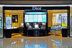 Boutique de cosmestics de Dior Photographie stock libre de droits