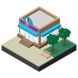 Boutique de crème glacée isométrique avec le banc et les arbres Photo stock