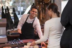 Boutique de jamon et de fromage Images libres de droits
