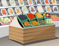 Boutique de légumes Légumes sains frais dans le magasin de supermarché Étagère végétale Photo libre de droits