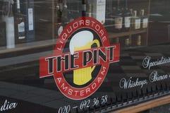 Boutique de Logo From The Pint Liquor à Amsterdam les Pays-Bas photo libre de droits