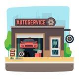 Boutique de mécanicien de réparation de voiture avec l'automobile à l'intérieur de l'illustration automatique de vecteur de garag illustration libre de droits