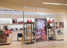 Boutique de Pelle Borsa à Hong Kong Images stock