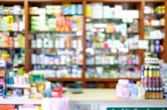 Boutique de pharmacie de Blured Photos libres de droits