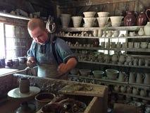 Boutique de poterie recréée au vieux village de Sturbridge dans le Massachusetts Photos stock