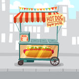 Boutique de rue de hot-dog illustration stock