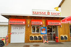 Boutique de souvenirs suisse Photographie stock