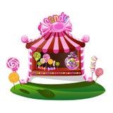 Boutique de sucrerie avec un décor gai illustration de vecteur