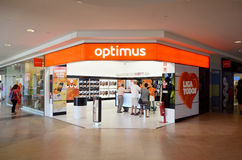 Boutique de télécommunication d'Optimus Photographie stock