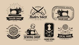 Boutique de tailleur, logo de fil ou label Mise sur pied du concept Illustration de vecteur illustration stock
