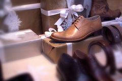 Men's Shoes Boutique display. Close up shot of a Boutique display window Royalty Free Stock Images