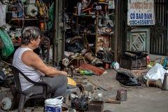Boutique en acier Hanoï Asie de vieille rue Images libres de droits