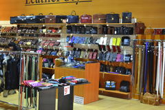 Boutique en cuir de marchandises Photos libres de droits