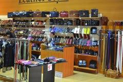 Boutique en cuir de marchandises Photos libres de droits