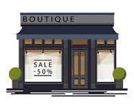 Boutique facade. Illustration of a boutique in a flat style. Vector illustration Eps10 file Stock Images
