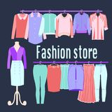 Boutique Fashion Clothing store background. Stock Images