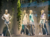 Boutique Fashion Mannequins Display. BUCHAREST, ROMANIA - APRIL 20: Boutique Fashion Mannequins In Fashion Shop Display on April 20, 2014 in Bucharest, Romania Royalty Free Stock Image