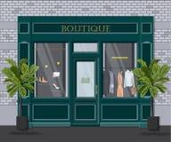 Boutique gráfico do vintage da fachada do vetor Ilustração detalhada de uma loja de roupa em um estilo liso Montra varejo Fotos de Stock