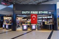 Boutique hors taxe dans le terminal de départ à l'aéroport international d'Antalya, Antalya Havalimani La Turquie Photo stock