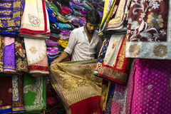 Boutique indienne de Saree Photographie stock