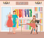 Boutique indoor of woman`s cloths fashion. stock illustration