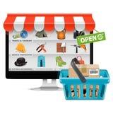 Boutique informatique de vecteur avec le panier Photos stock