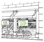 Boutique locale avec l'inscription et les fruits frais et les légumes cultivés sur place Photos stock