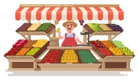 Boutique locale de fruit végétal L'agriculteur heureux vend les RP naturelles fraîches Photo stock