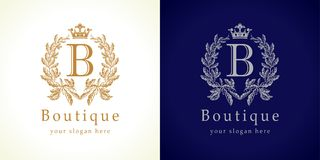 The boutique logo. The boutique logotype. The luxurious letter B in traditional style. Awards, prize isolated elegant abstract emblem. Luxurious congratulating stock illustration