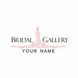 Boutique Logo Illustration Vector Design nuptiale de robe Photo stock