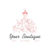 Boutique Logo Template Illustration Vector Design nupcial del vestido ilustración del vector
