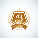 Boutique Luxury Vintage, Crests logo. Business sign, identity for Restaurant and Boutique.. Stock Photos