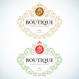 Boutique Luxury Vintage, Crests logo. Business sign Stock Photo