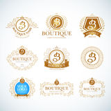 Boutique Luxury Vintage. Crests logo templates set. Boutique Luxury Vintage, Crests logo templates set. Business sign, identity for Restaurant. Royalty and Stock Images