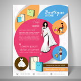 Boutique store template, banner or flyer design. Boutique Store template, banner or flyer design with illustration of young modern girls Stock Photography