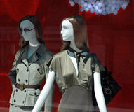 Boutique Window Mannequins. Two models in the front of a luxury fashion store Royalty Free Stock Image