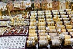 Boutiques de bijoux de bazar d'Amir Bazaar ou d'or à Tabriz Province est de l'Azerbaïdjan l'iran Image libre de droits