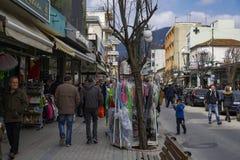 Boutiques de carnaval de Xanthi, Grèce Photographie stock libre de droits
