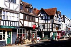 Boutiques de rue d'église, Tewkesbury photos stock