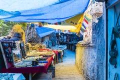 Boutiques de souvenirs de Ladakhi de côté de rue Images libres de droits